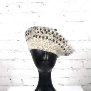 VINTAGE Women's Irish Knit Brown Mohair Beret Hat